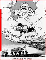 'I can't believe my eyes' cartoon; Marx, Lenin, Stalin looking down on Gorbachev