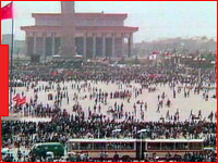 Chinese demonstration in Tiananmen Square, ITN